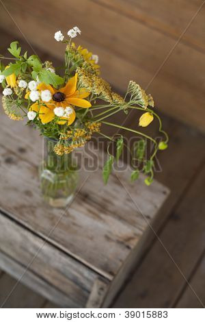 farm flowers in mason jar