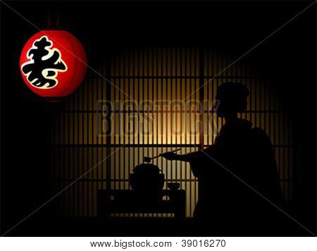 Geisha silhouette doing tea ceremony and paper lantern