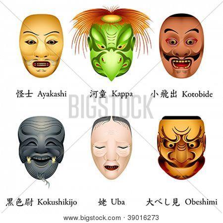 Japanese masks - ayakashi, kappa, kotobide, kokushikijo, uba, obeshimi