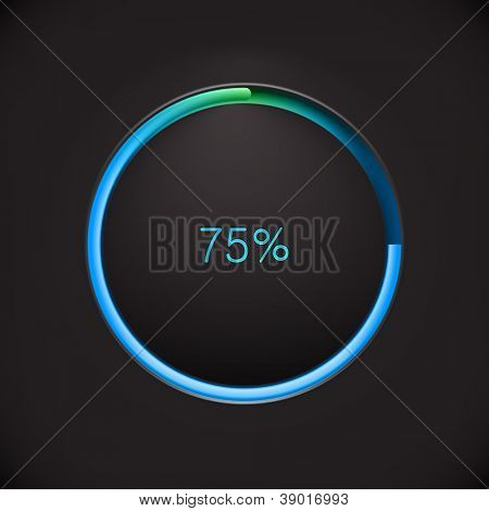 Round preloading  progress bar on black background with blue-green buffering indicator. Web preloader. Download bar. Vector illustration