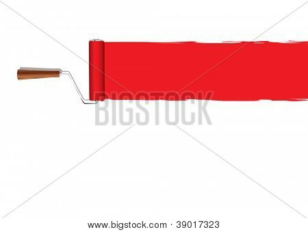 Red banner with paint roller background