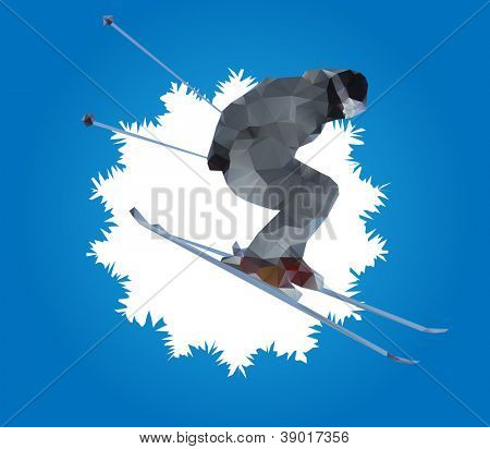 flying skier and snowflake , vector illustration