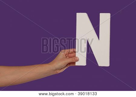 Female hand holding up the uppercase capital letter N isolated against a purple background conceptual of the alphabet, writing, literature and typeface