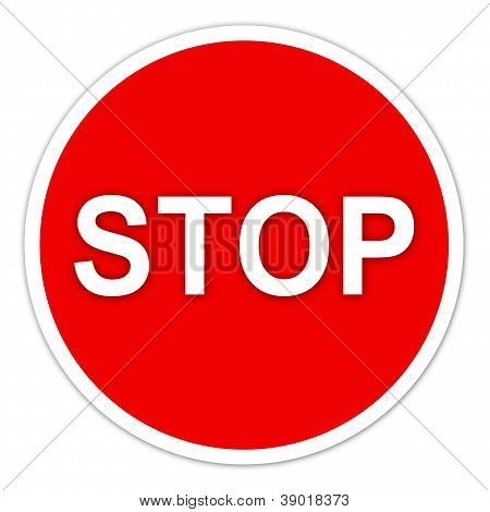 Stop Sign On White