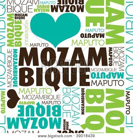 I love Mozambique Maputo seamless typography background pattern in vector