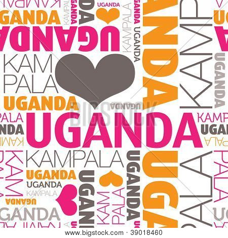 I love Uganda Kampala seamless typography background pattern in vector