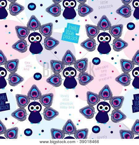 Seamless exotic india peacock pattern background in vector