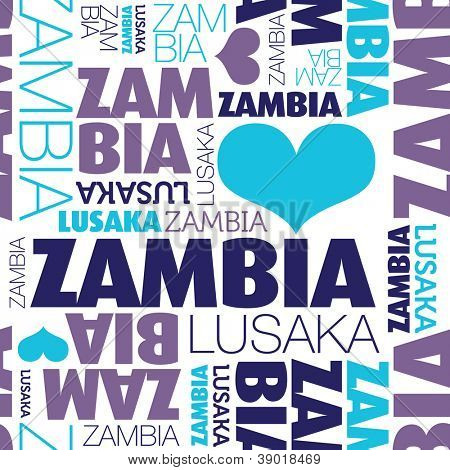 I love Zambia Lusaka seamless typography background pattern in vector