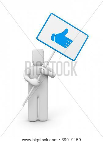Person with thumb up sign