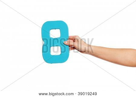 Female hand holding up the number 8 against a white background conceptual of numbers, measurement, amount, quantity, accounting and mathematics
