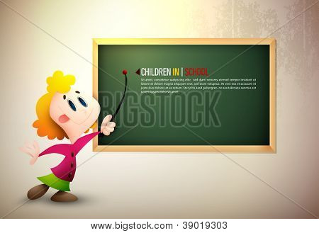 Little Girl Pointing on Board | Learning at School | EPS10 Vector Background | Layers Organized and Named Accordingly