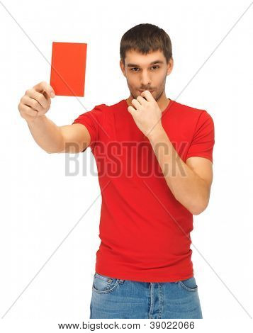 bright picture of handsome man with red card.