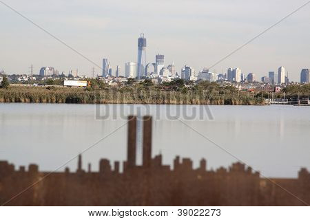 LYNDHURST, NJ-SEPT 11: A silhouette of the pre-9/11 skyline cut from steel depicts where the twin towers once stood in the skyline from Richard W. DeKorte Park on September 11, 2012 in Lyndhurst, NJ.
