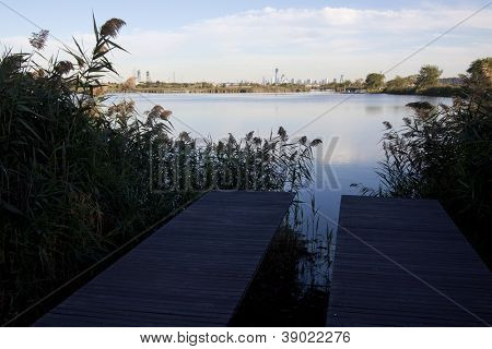 LYNDHURST, NJ-SEPT 11: Late afternoon shadows fall on two identical piers that have 110 slats representing each floor of the WTC in Richard W. DeKorte Park on September 11, 2012 in Lyndhurst, NJ.
