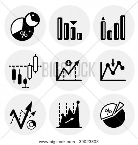 Vector black financial statistics icons. Icon set