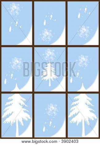 Winter Scene Through Window