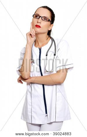 Thinking medical doctor , isolated on white background
