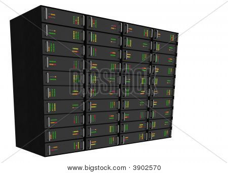 Web Hosting Server Rack On White