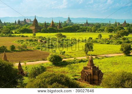 Daytime view over temples of Bagan in Myanmar