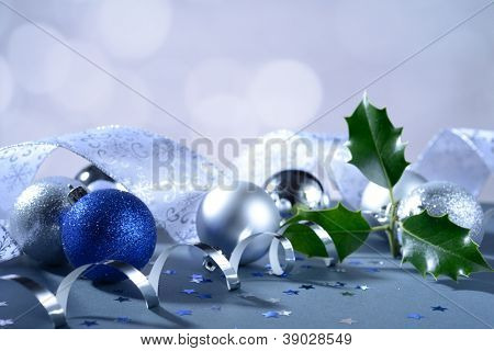 Christmas decorations and Holly tree