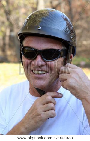Middle-Aged Man And A Safety Helmet.