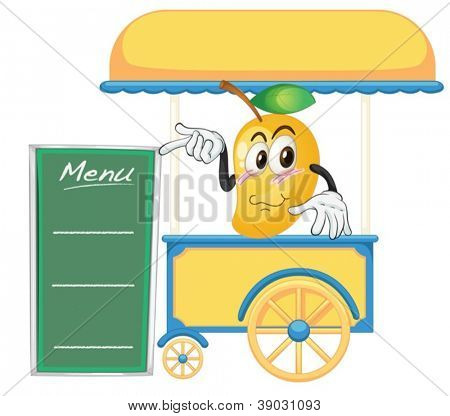 illustration of a cart stall and a mango on a white background