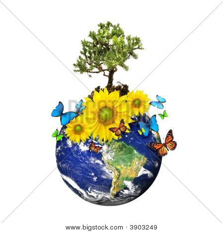 Earth With A Tree And Flowers Isolated Over A White Background