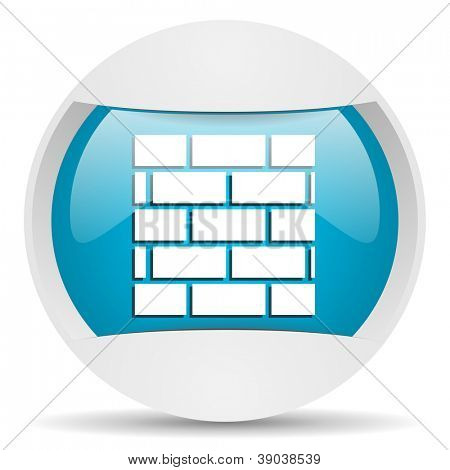 firewall round blue web icon on white background