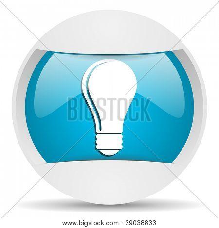 bulb round blue web icon on white background