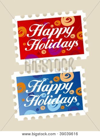 Happy holidays postage stamps stickers.