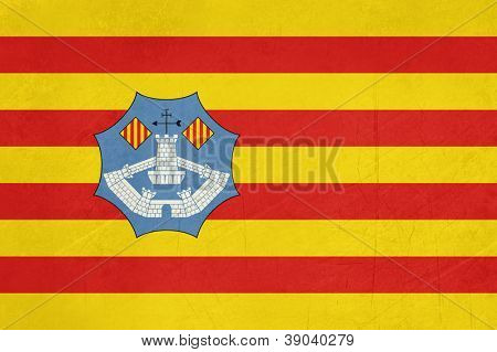 Grunge illustration of Minorca flaf of Balearic Islands, Spain, isolated on white background.