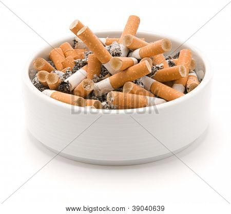 Ashtray full of smoked cigarettes isolated on white background