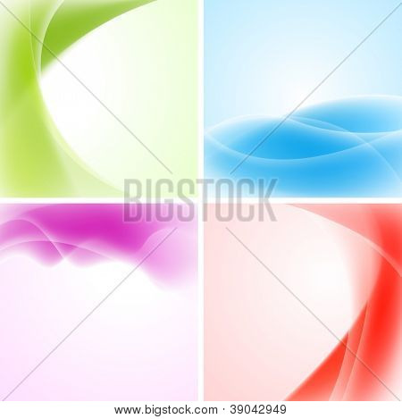 Abstract waves backgrounds. Vector design eps 10. Gradient mesh included