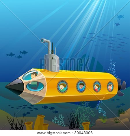 School Children Enjoying Pencil Submarine Ride Under The Sea