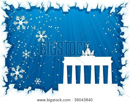 Berlin city winter background with ice border and silhouette