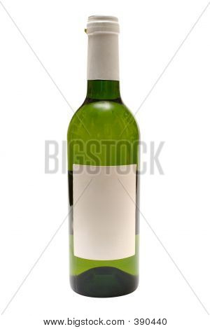 Bottle Of White Wine W/ Blank Label (path Included)