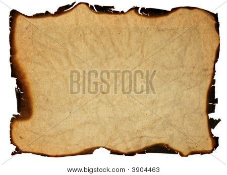 Old Grunge Paper With Burnt Edges - Isolated