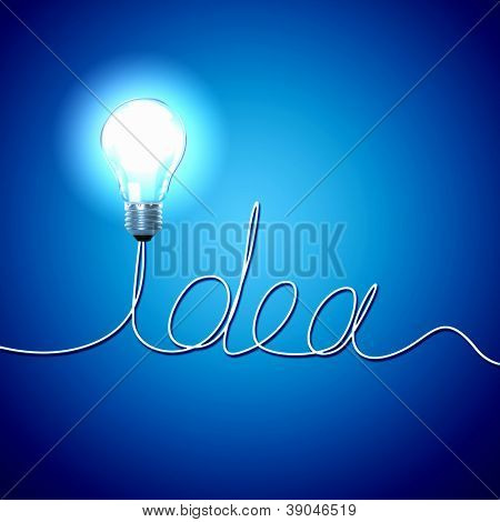 Abstract Light Bulb with the word Idea on blue background.