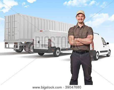 smiling man crossed arms and truck background