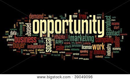 Opportunity concept in word tag cloud on black background