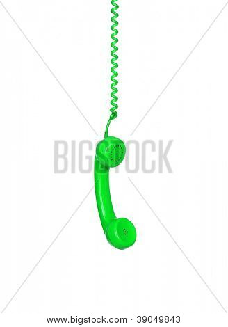 Green telephone cable hanging isolated on white background