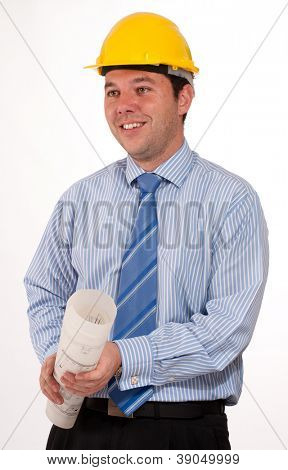 Man with safety helmet holding a roll of blueprints