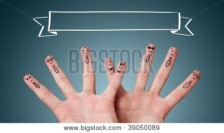 happy group of finger smileys with copyspace over their head