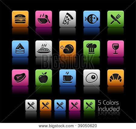Food Icons - Set 1 of 2 // Color Box------It includes 5 color versions for each icon in different layers ------