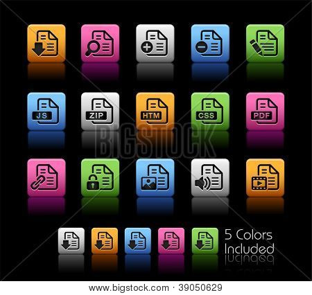 Documents Icons - 1 of 2 // Color Box------It includes 5 color versions for each icon in different layers ------
