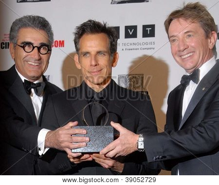 LOS ANGELES - NOV 15: Eugene Levy, Ben Stiller, Martin Short in the press room of the 26th American Cinematheque Award iho Ben Stiller at Beverly Hilton Hotel on November 15, 2012 in Beverly Hills, CA
