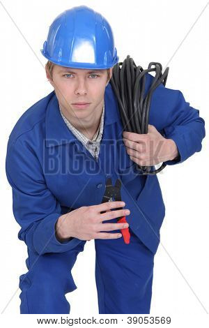 Electrician brandishing electrical clippers