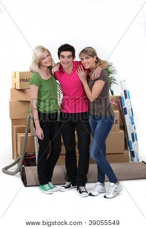 Three housemates moving
