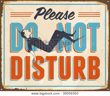Vintage Metal Sign - Please Do Not Disturb - JPG Version
