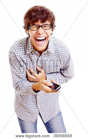 Young latin man in black glasses and mobile phone in his hand doubling up with laughter. Isolated on white background, mask included
